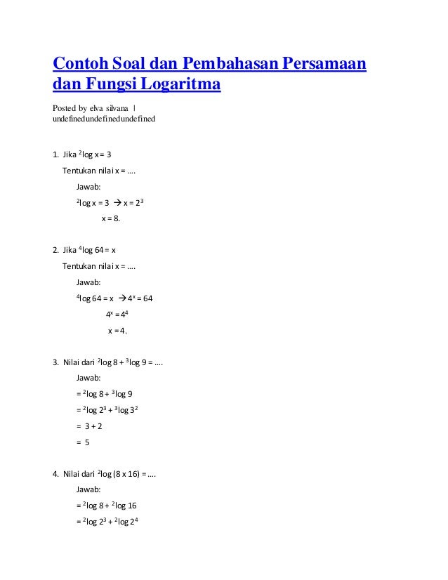 Contoh Soal Logaritma Kumpulan Soal Pelajaran 5
