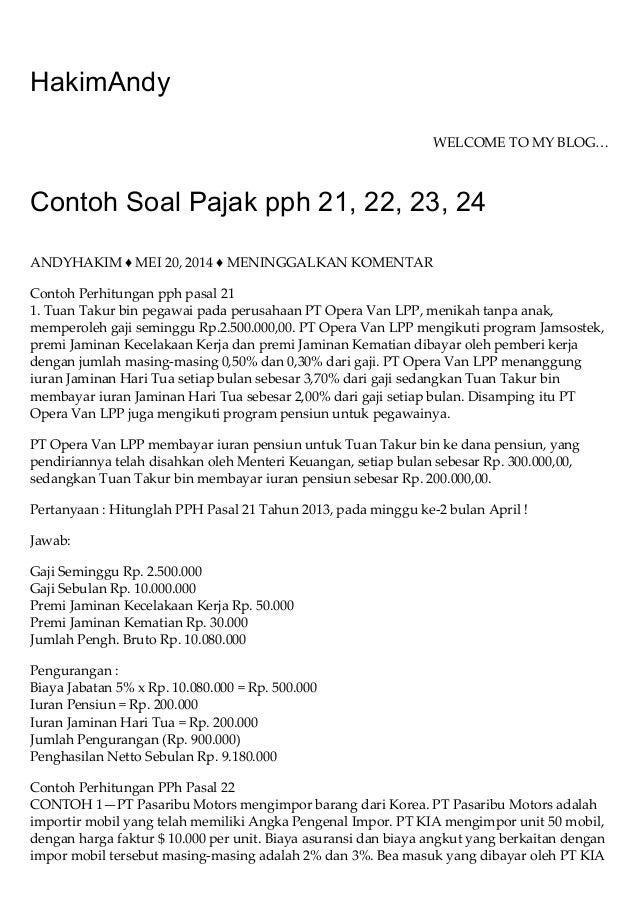 Contoh Soal Pajak Pph 21 22 23 24