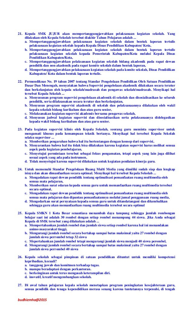 Contoh Soal Ukg Kepala Sekolah 2015