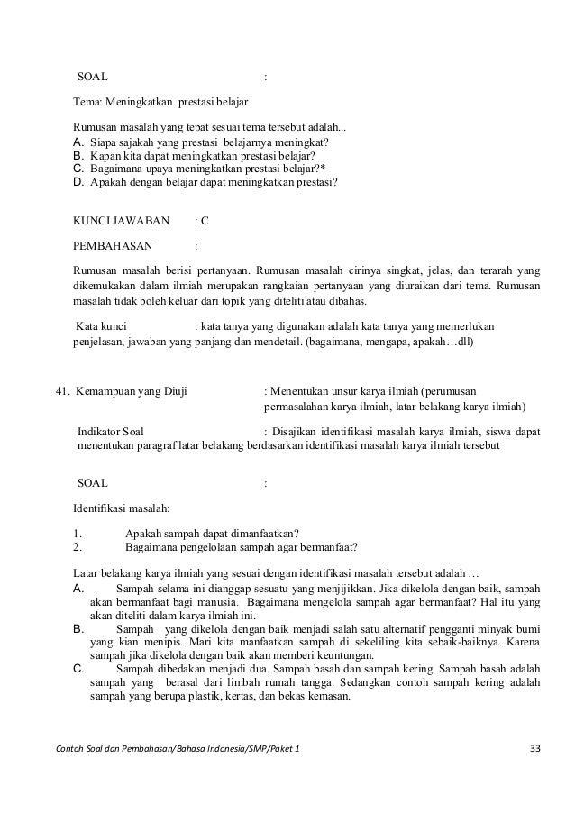 Contoh Soal Un Bahasa Indonesia