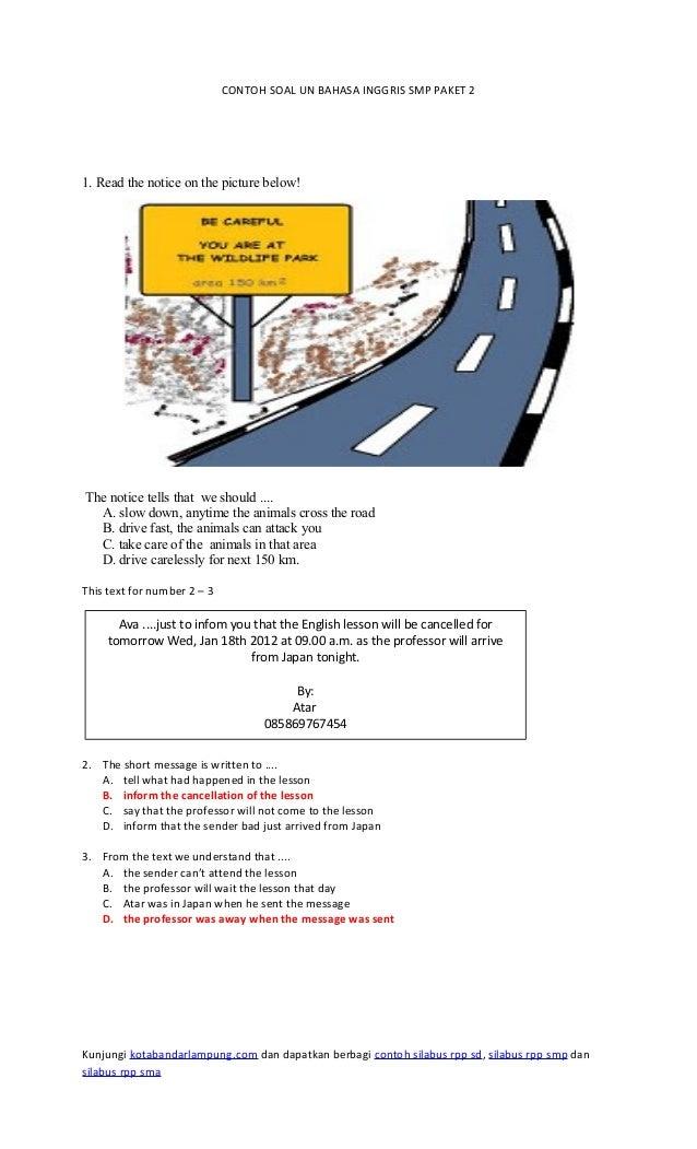 Contoh Soal Un Bahasa Inggris Smp Paket 2