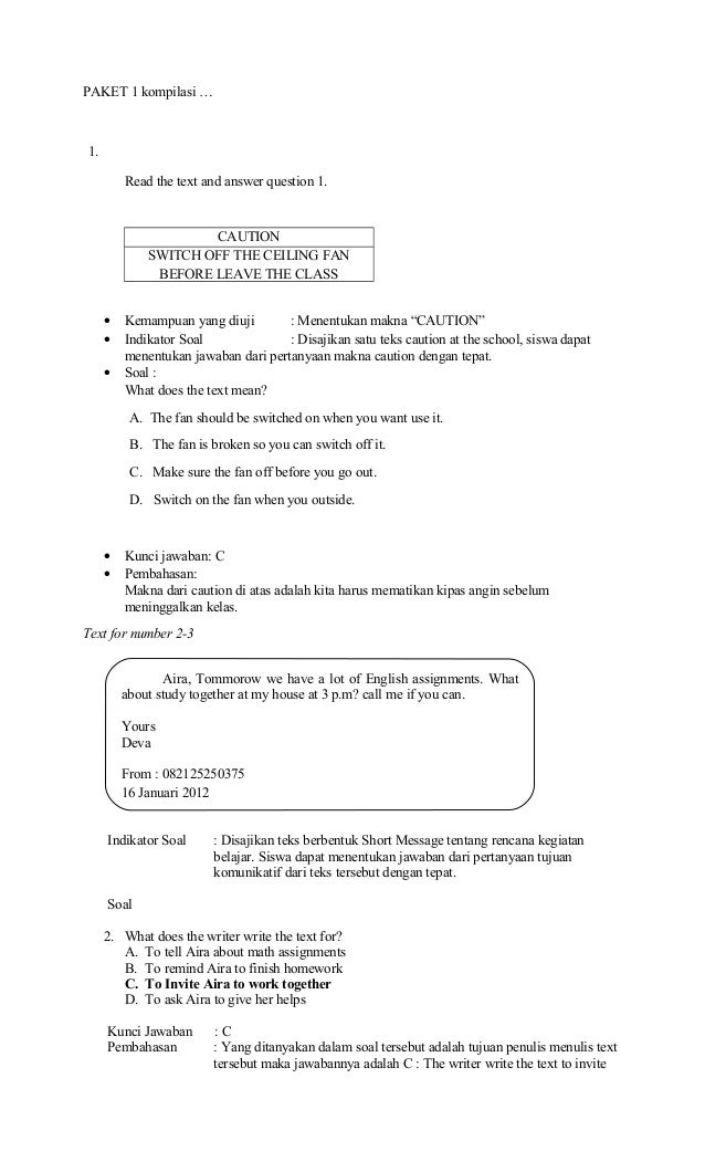 Contoh Soal Un Bahasa Inggris Smp Paket 3