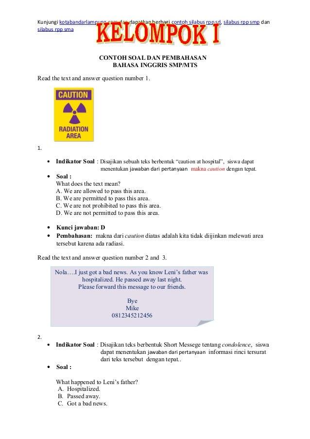 Contoh Soal Un Bahasa Inggris Smp Paket 4