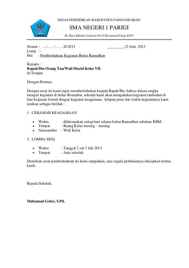 Contoh Surat Dinas Resmi Pendidikan