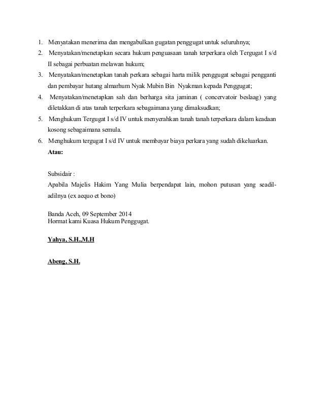 contoh surat gugatan hukum acara perdata
