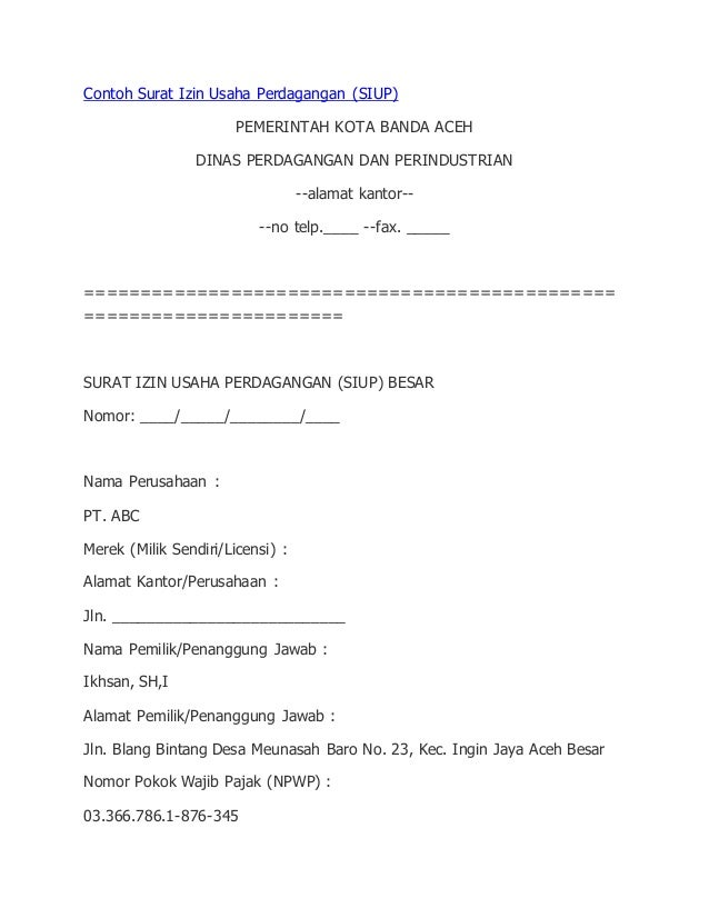 Contoh Surat Izin Usaha Dari Kepala Desa