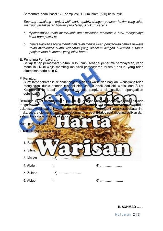 Contoh Surat Kesepakatan Bagi Waris