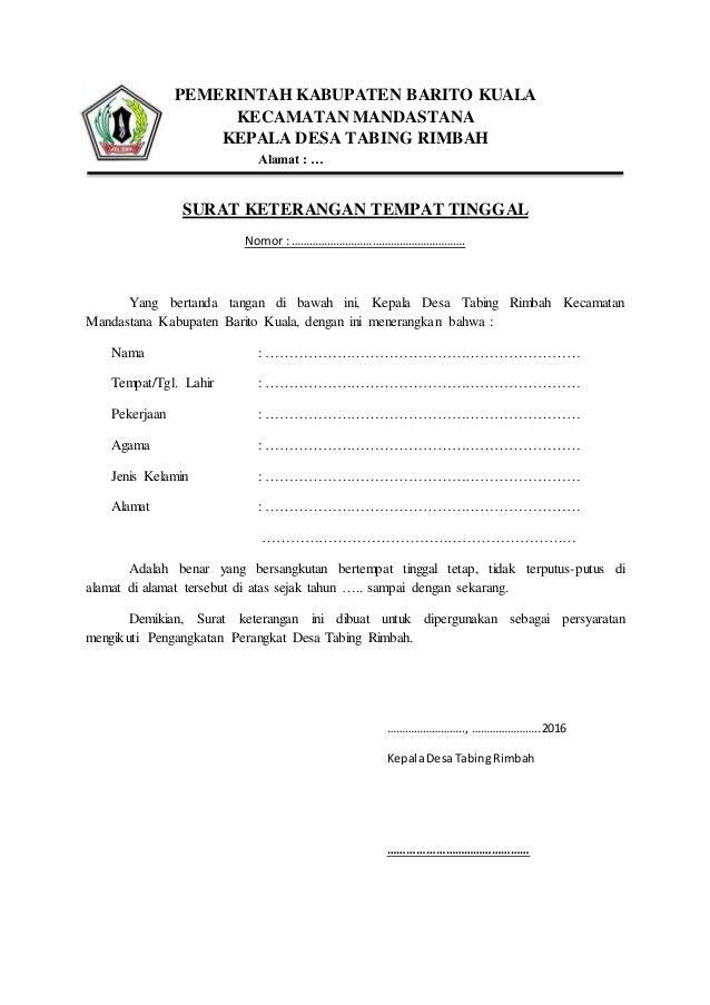 Contoh surat keterangan tempat tinggal dari kepal desa