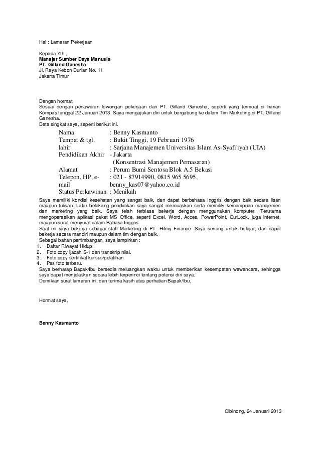 Surat Lamaran Sales Executive Bahasa Inggris