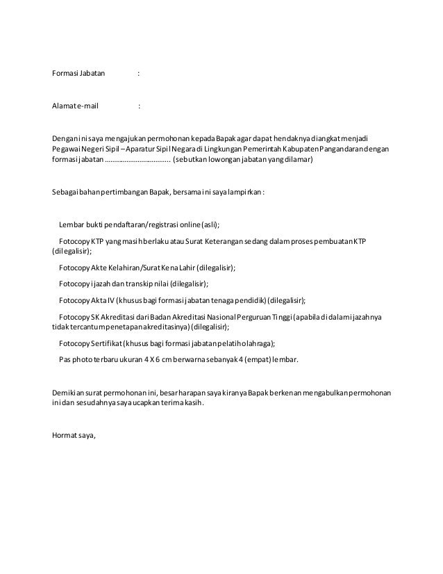 contoh surat lamaran