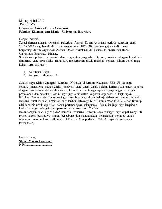 Contoh Surat Lamaran Asisten Dosen Http Contohsurat Sekolahkita I