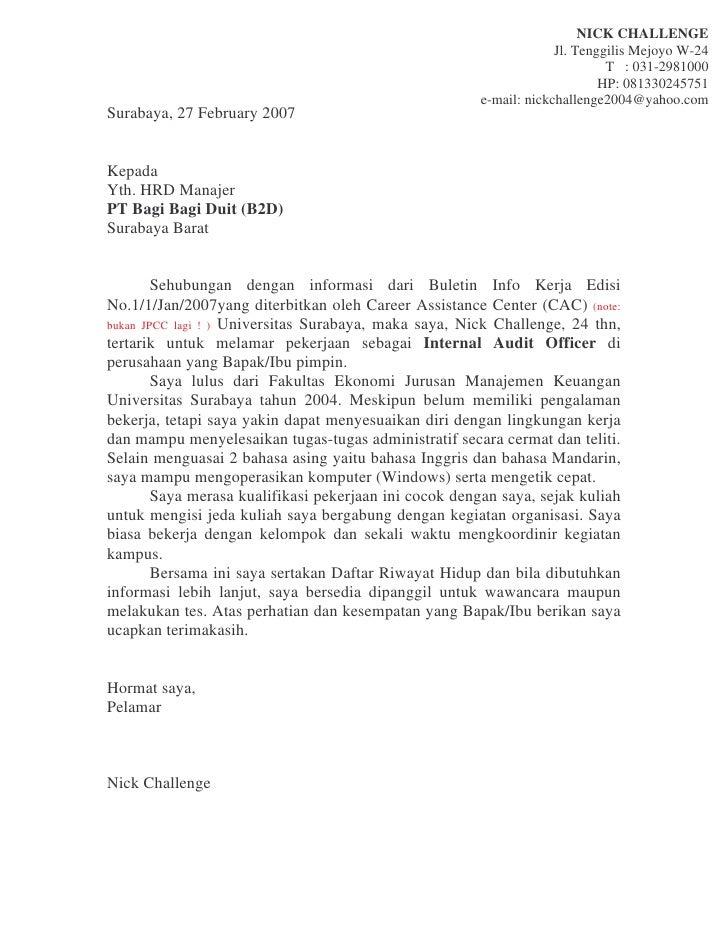 Contoh Surat Lamaran Kerja Bahasa Inggris Teknik Komputer