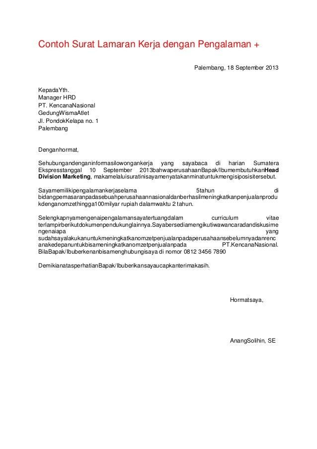 Contoh Surat Lamaran Kerja Hrd Manager - Contoh Su