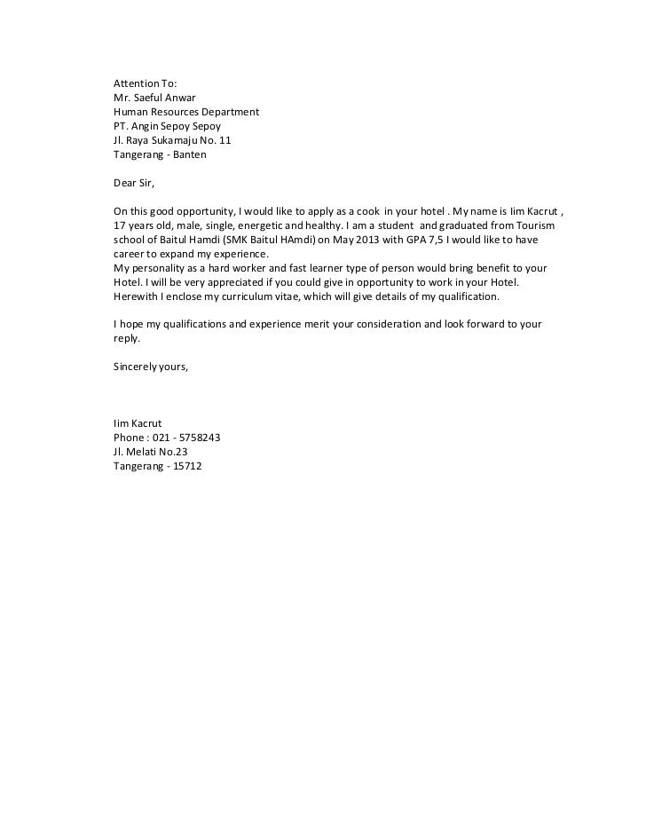 contoh surat lamaran kerja hotel housekeeping   600 tips