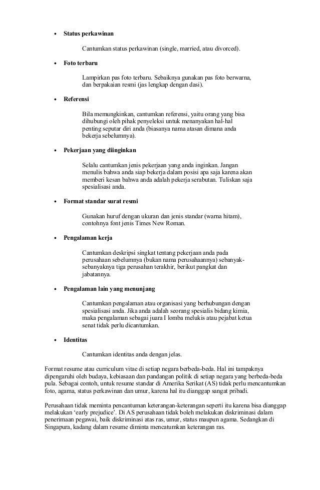 Contoh Surat Lamaran Kerja Amp Cv