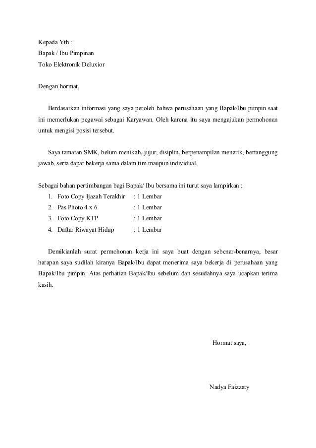 Format Surat Lamaran Kerja Kasare Annafora Co