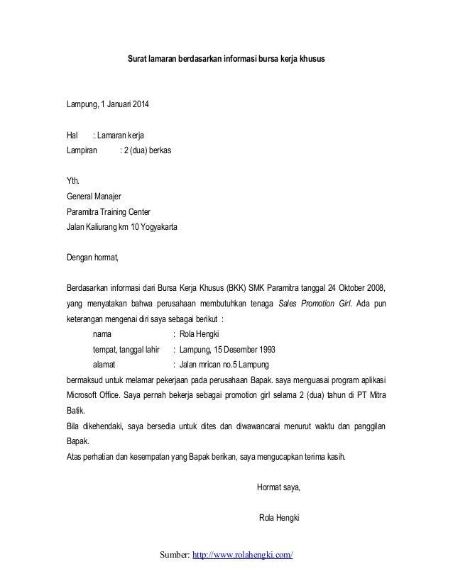 Contoh surat lamaran kerja yang baik (download lengkap)