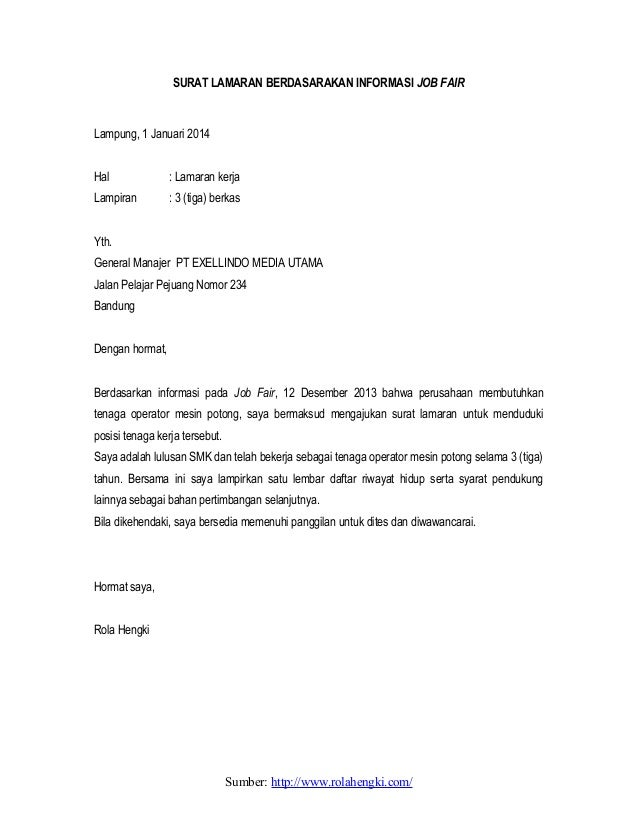 Contoh Surat Lamaran Kerja Yang Baik Download Lengkap