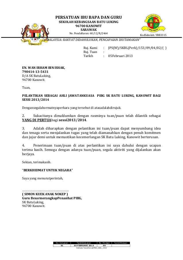 Contoh Surat Lantikan Ajk Pibg