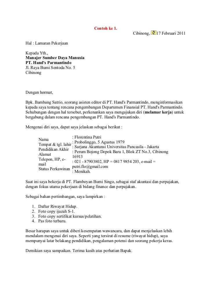 contoh surat pekerjaan