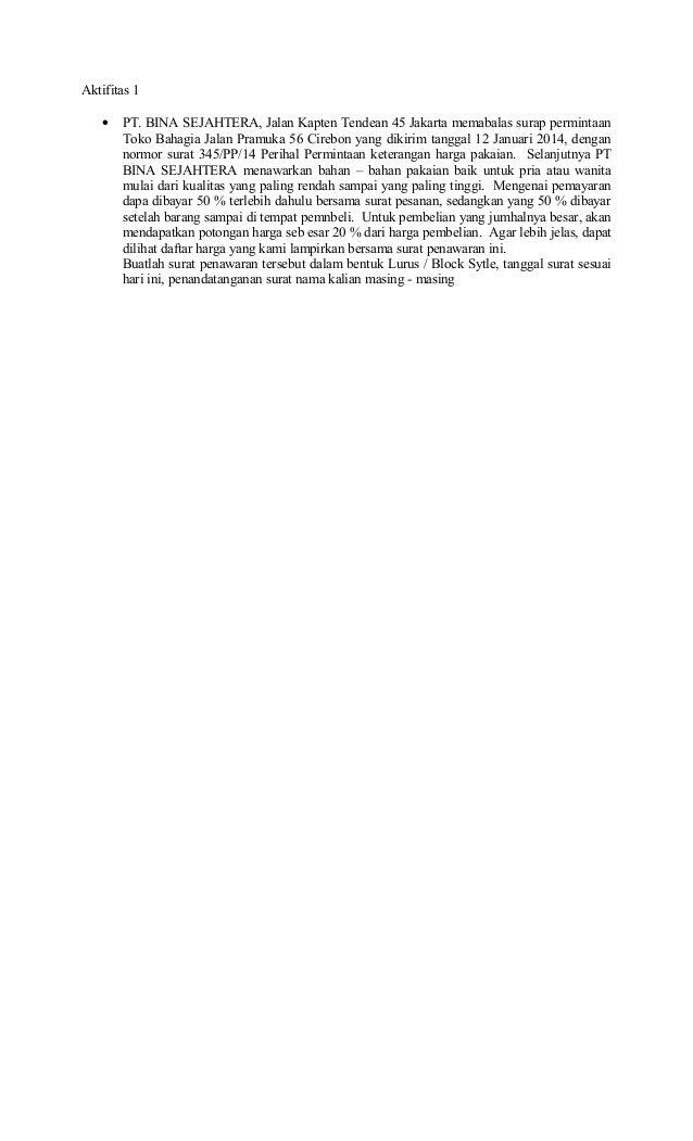 contoh surat penawaran berdasarkan surat permintaan penawaran