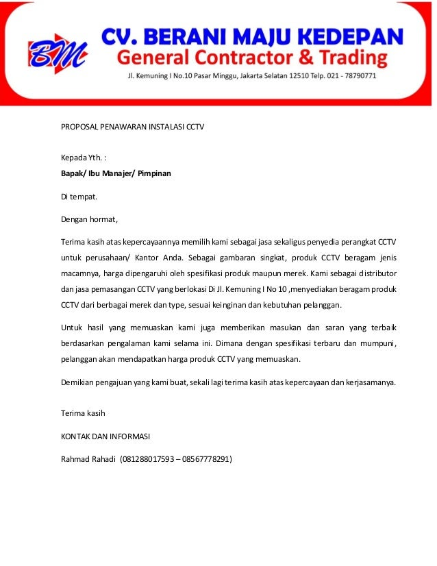 Contoh Surat Penawaran Jasa Instalasi Cctv