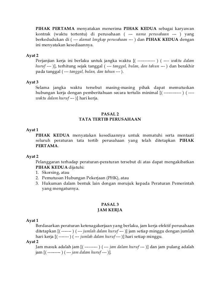 Contoh Surat Kontrak Kerja Karyawan Cafe