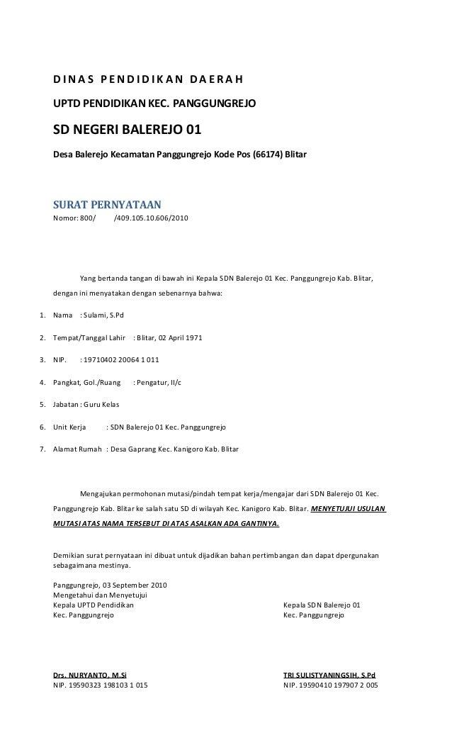 Contoh Surat Permohnan Pindah Kerja