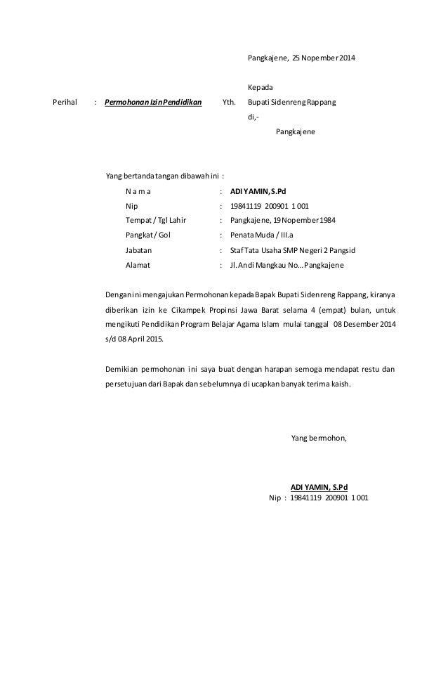 Contoh surat permohonan izin bupati