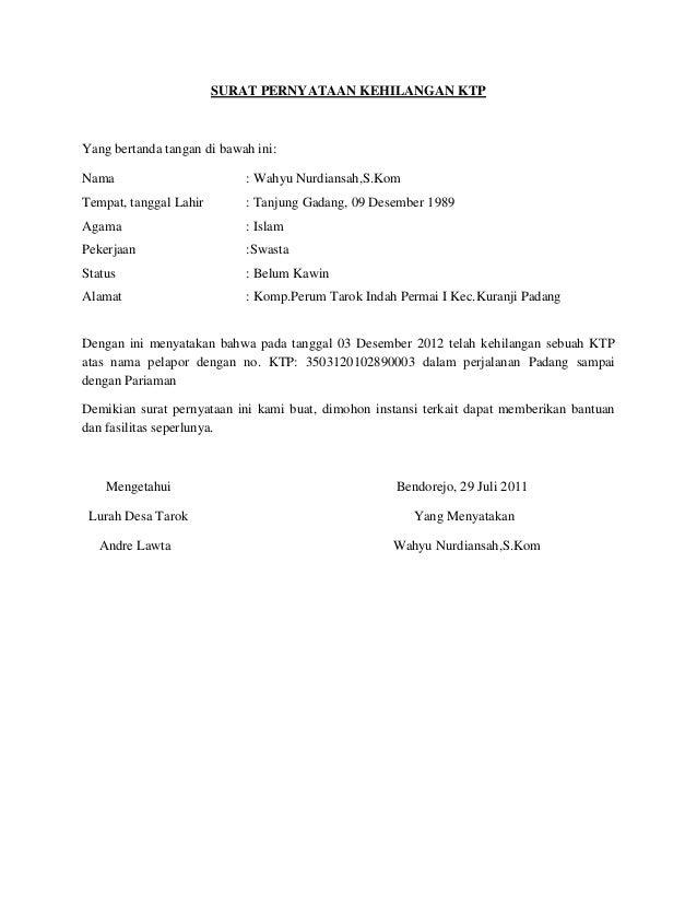 Contoh surat pernyataan surat pernyataan kehilangan thecheapjerseys Image collections