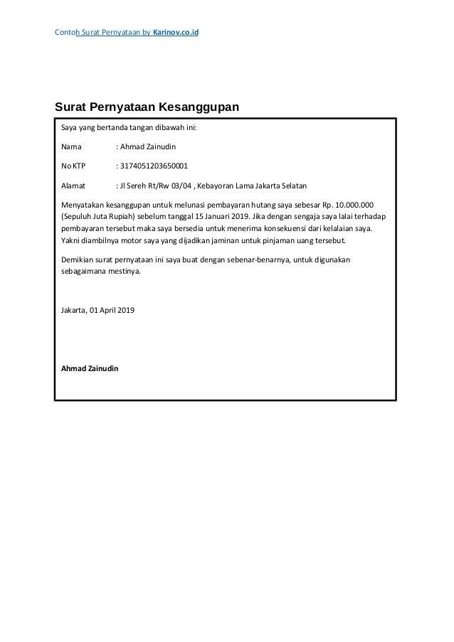 Contoh Surat Pernyataan Kerja By Karinovcoid