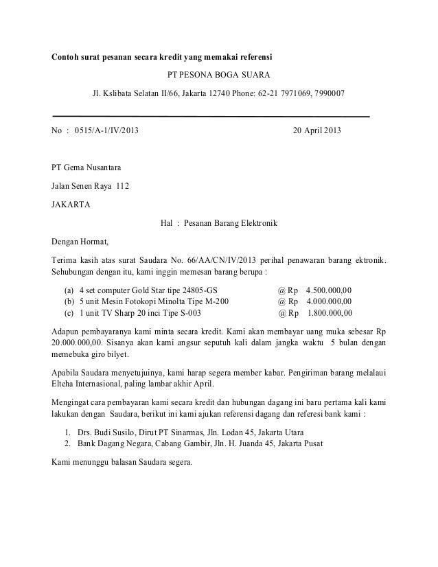 Contoh Surat Pesanan Secara Kredit Yang Memakai Referensi