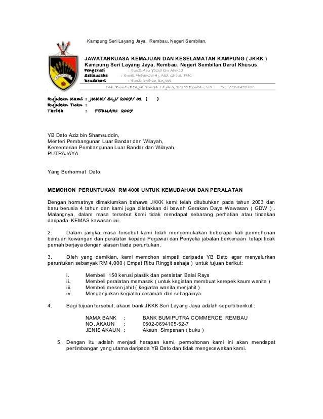 Contoh Surat Rasmi Kepada Menteri Besar Negeri Sembilan