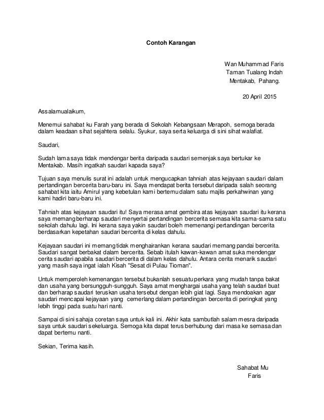Contoh surat rasmi and tidak rasmi