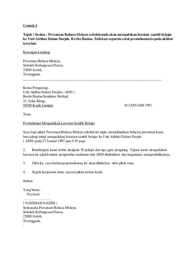 Contoh Karangan Surat Rasmi Dalam Bahasa Inggeris Rasmi Ru