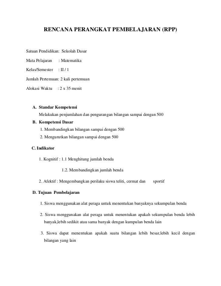 RENCANA PERANGKAT PEMBELAJARAN (RPP)Satuan Pendidikan: Sekolah DasarMata Pelajaran   : MatematikaKelas/Semester   : II / 1...