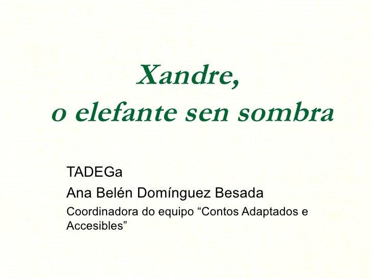 """Xandre,  o elefante sen sombra TADEGa Ana Belén Domínguez Besada Coordinadora do equipo """"Contos Adaptados e Accesibles"""""""
