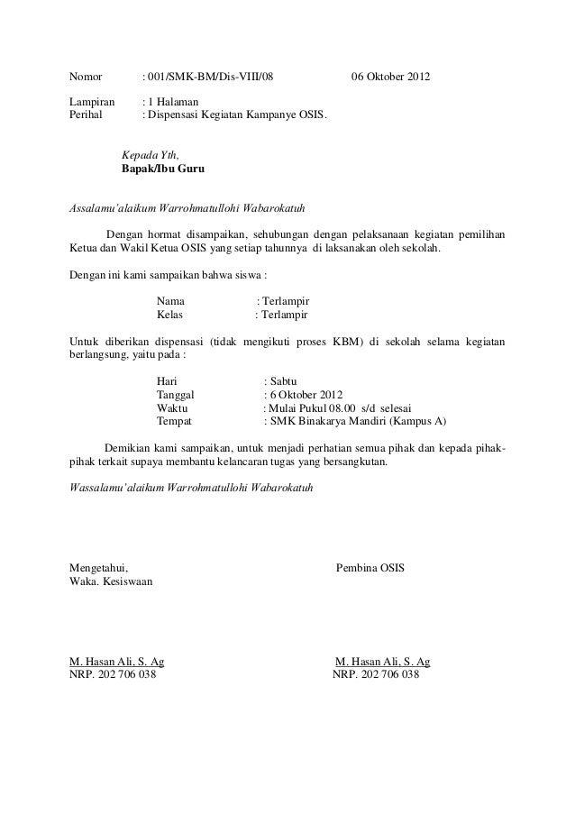 Conto Surat Dispensasi