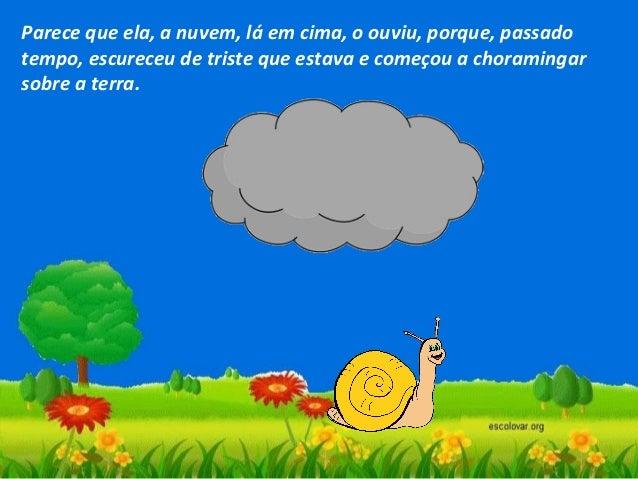 Quando se foi a chuva, e o Sol voltou a aparecer, o caracol, que entretanto se abrigara na sua casa, deitou os pauzinhos p...