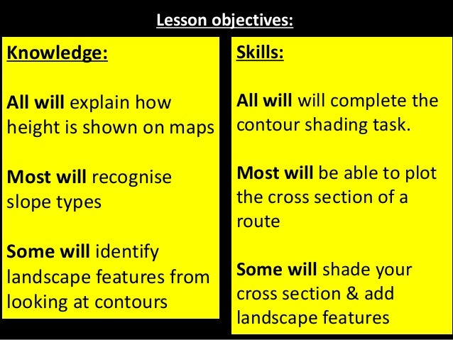Lesson objectives: Knowledge: All will explain how height is shown on maps Most will recognise slope types Some will ident...
