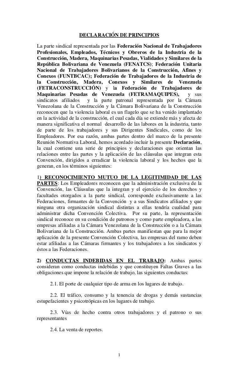 DECLARACIÓN DE PRINCIPIOSLa parte sindical representada por las Federación Nacional de TrabajadoresProfesionales, Empleado...