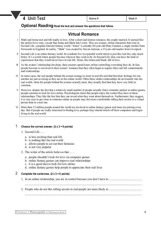 Name Mark4 Unit Test Optional Reading Read the text and answer the questions that follow. Virtual Romance I Mark and Jenna...