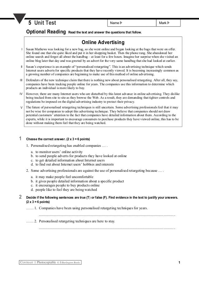 Name Mark5 Unit Test Optional Reading Read the text and answer the questions that follow. Online Advertising I Susan Mathe...