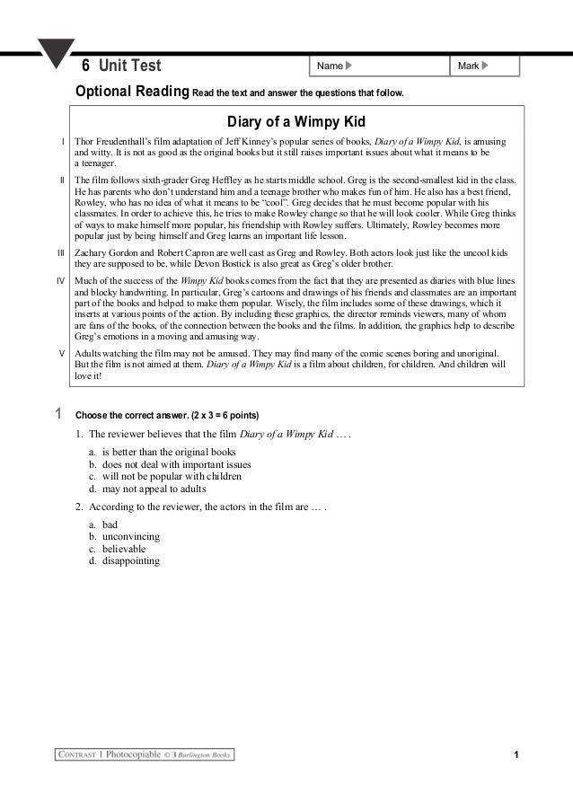 Name Mark6 Unit Test Optional Reading Read the text and answer the questions that follow. Diary of a Wimpy Kid I Thor Freu...