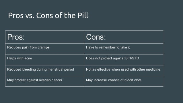 Pros and cons of contraceptive pills