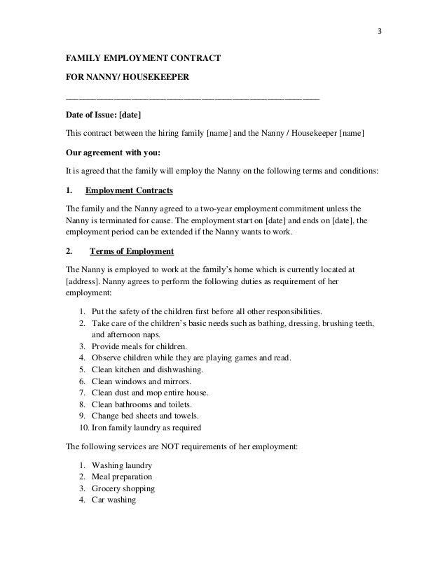 Standard Nanny Contract Elitadearest
