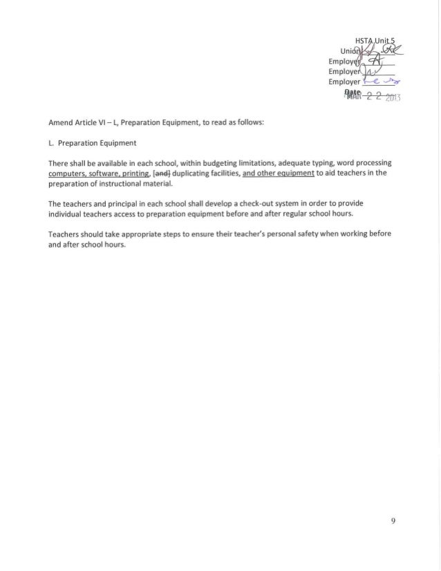 Hawaii Teachers Union Tentative Contract Agreement – Teacher Agreement Contract