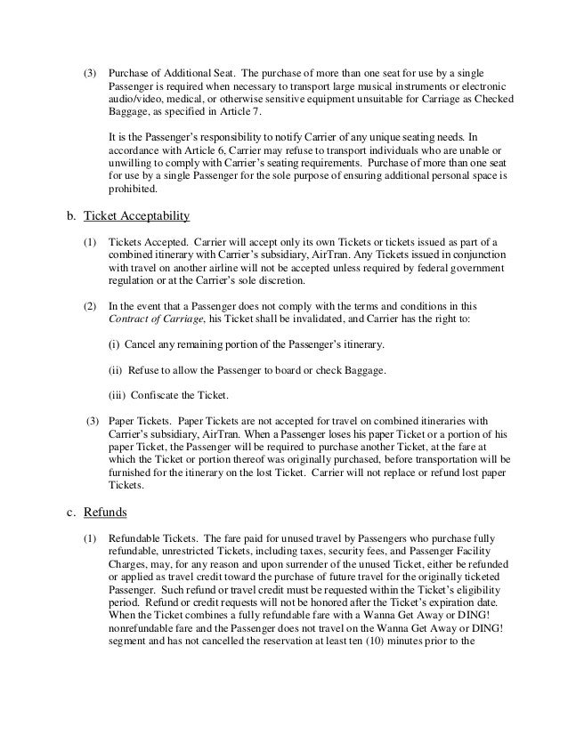Southwest Passenger Agreement Contract OfCarriage