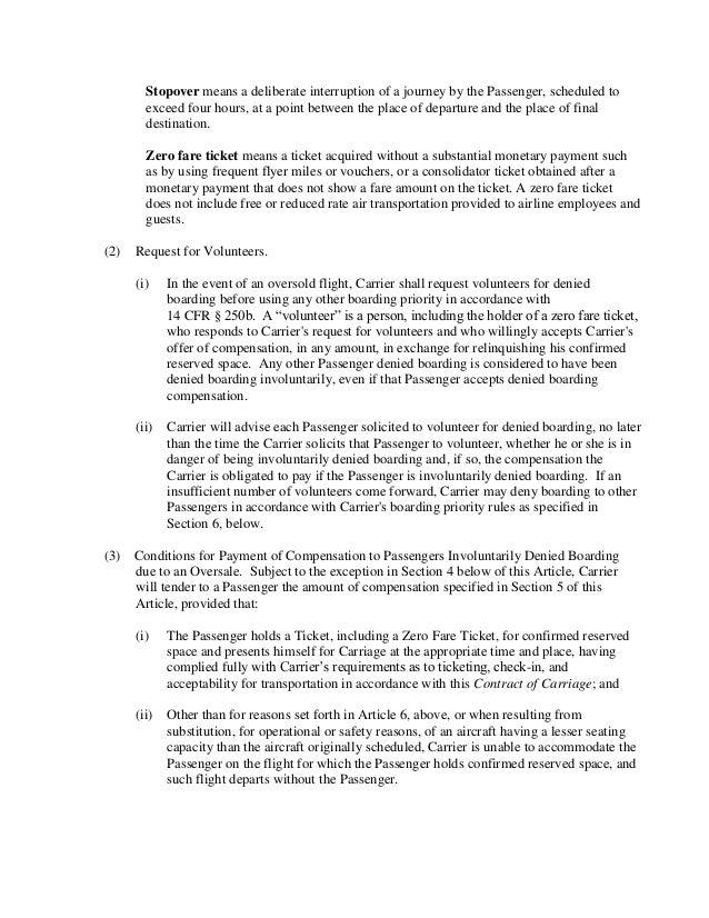 Southwest Passenger Agreement Contract Of Carriage