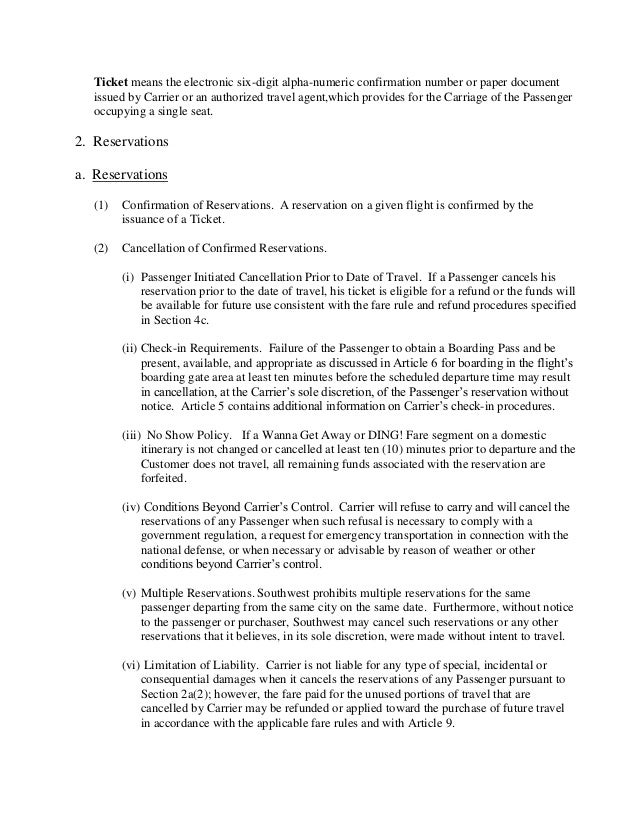 Southwest passenger agreement contract ofcarriage – Agent Contract Agreement